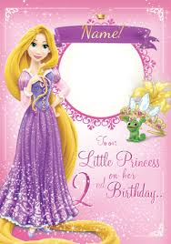 rapunzel photo birthday card disney princess funky pigeon