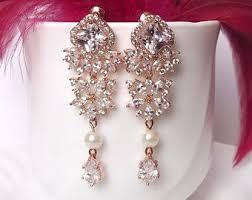wedding earrings rose gold chandelier earrings rose gold bridal