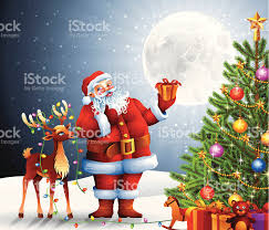 santa claus and rudolph with tree stock vector more