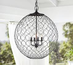 black outdoor pendant light net globe indoor outdoor pendant pottery barn