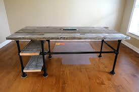 Industrial Standing Desk by Reclaimed Wood Pipe Desk Deskweek Keeklamp D I Y Pinterest
