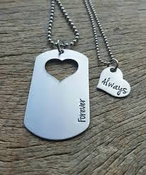 his and hers dog tags dog tag with heart cutout spouse forever and always