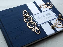 ivory wedding guest book navy and silver wedding guest book with swirl embellishments made