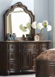 marble top dresser bedroom set le grande platform bed 6 piece bedroom set in rich nutmeg finish by