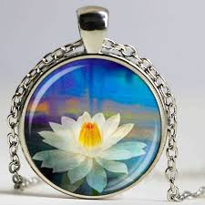 glass necklace pendants wholesale images Wholesale glass dome pendant yoga lotus necklace flower charm jpg
