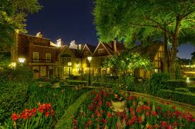House Theme Flowers Alley Night Green Nature Flowers Colors Garden Path Villa
