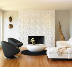 contemporary living room with 3d wall panel featuring flower