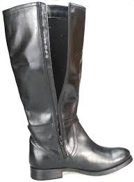 real leather biker boots ladies real leather knee high low heel flat zip biker riding style
