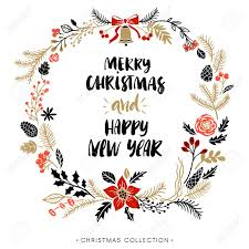 merry christmas modern christmas greeting wreath with calligraphy happy new year and