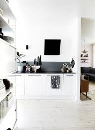 Black And White Kitchen Interior by Decordots Black And White And Wood