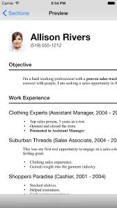 Clothing Sales Resume Resume Designer 3 App Review Create A Professional Resume Apppicker