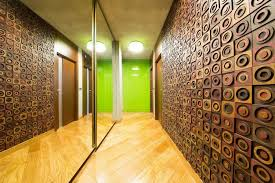 modern apartment corridor with circle motifs wood carving wall