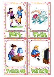 action verb flashcards worksheet free esl printable worksheets