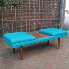 retro coffee table ottoman mid century modern upholstered with