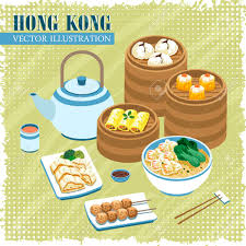 collection cuisine delicious hong kong cuisines collection poster in flat style