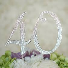 w cake topper number 40 birthday anniversary cake topper monogram