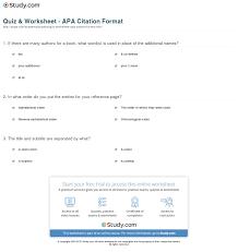 format apa citation quiz worksheet apa citation format study com