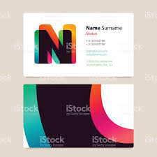 business card template design with overlay n icon stock vector art