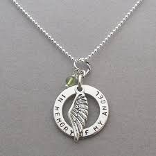 necklace personalized angel wing memorial necklace personalized disk sterling