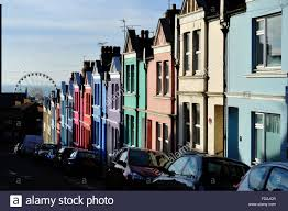 Painted Houses Brightly Painted Houses In Blaker Street Brighton Uk Stock Photo