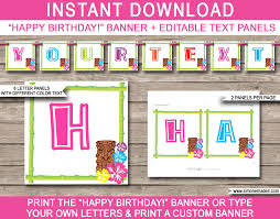 luau party banner template happy birthday banner editable bunting