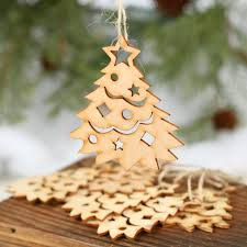 unfinished wood laser cut tree ornaments