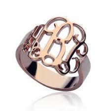 gold monogram rings personalized monogram rings