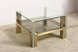 Brass And Glass Coffee Table Two Tiered Brass Glass Coffee Table By Willy Rizzo 1960s For
