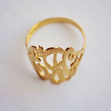 gold monogram ring district17 14k gold monogram ring script jewelry personalized