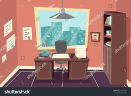 Livingroom Cartoon Stylish Business Working Office Room Background Stock Vector