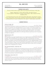 Career Profile Resume Examples Advanced Computer Skills Resume Resume For Your Job Application