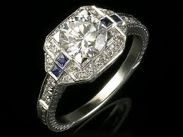vintage engagement ring settings only antique inspired edwardian style white gold and and blue