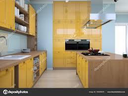 modern kitchen design yellow yellow modern kitchen interior design illustration 202285470