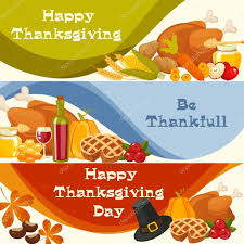 happy thanksgiving day vector banners with traditional table
