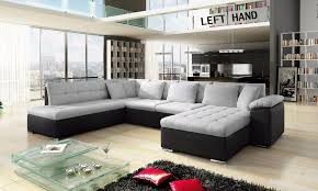 Leather Corner Sofa Beds by Brand New Scafati Fabric U0026 Leather Corner Sofa Bed In Black Grey