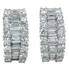 diamond earrings sale baguette and diamond gold huggie hoop earrings for sale at