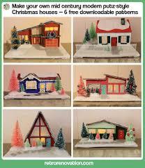 create a village of six mid century modern christmas putz houses