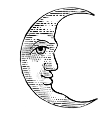antique clip art man in the moon crescent and full the