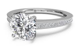 milgrain tool cut micropavé diamond band engagement ring with milgrain
