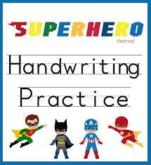 handwriting practice superhero worksheets you ve and
