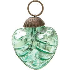 mini vintage green mercury glass ornament wave design
