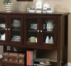 dark walnut buffet cabinet glass doors china dining room sideboard