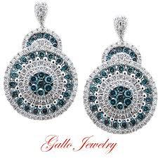 hanging earrings blue white diamond hanging earring
