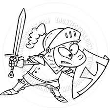 cartoon kid knight black and white line art by ron leishman