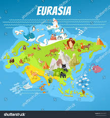 World Continent Map Cute Cartoon Eurasia Continent Map Landscapes Stock Vector