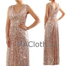 straps v neck long sequin rose gold bridesmaid dress formal