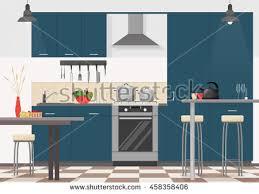 flat kitchen vector illustration download free vector art stock