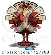 of a turkey bird mascot with a bowling and pins