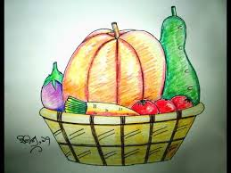 fruit and vegetable basket how to draw a vegetables basket