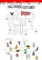 worksheet halloween costumes crosswords
